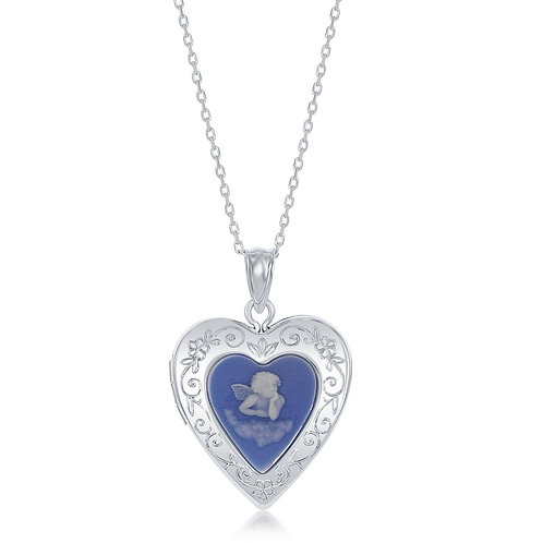Sterling Silver Blue Stone Angel Cameo Heart Locket CSN-J-2682