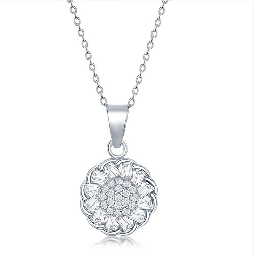 """Sterling Silver 16+2"""" Micro Pave Center & Baguette Flower Necklace CL-M-6232"""