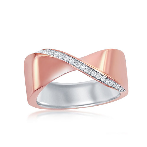 Sterling Silver Two-Tone Rose Gold Plated Lining 'X' Ring CSR-W-2049