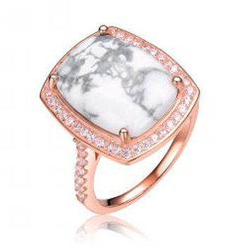 Sterling Silver Rose Toned Howlite Stone Ring CSR-R8084-HL