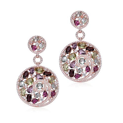 Rose Toned Multi Color/Multi Shaped Drop Earrings TCSE-EAR0264