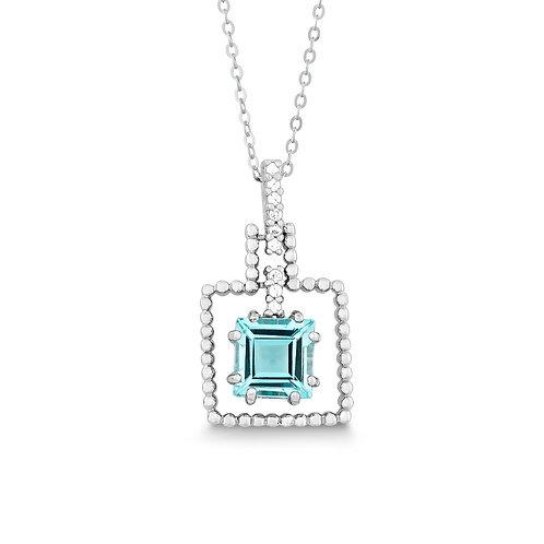 Sterling Silver Blue Topaz Square Gemstone Pendant CSN-K-6668