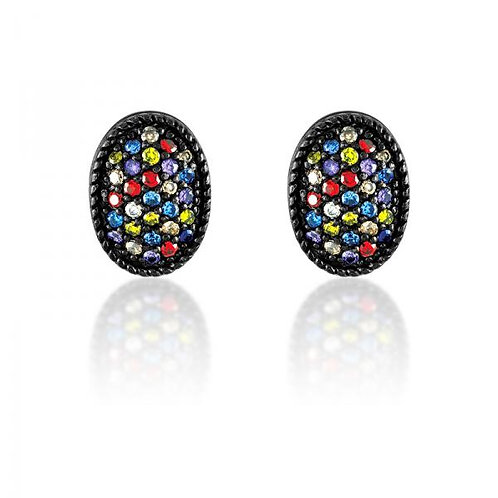 CZ EARRINGS Tri Colored Pave Stone D-4446