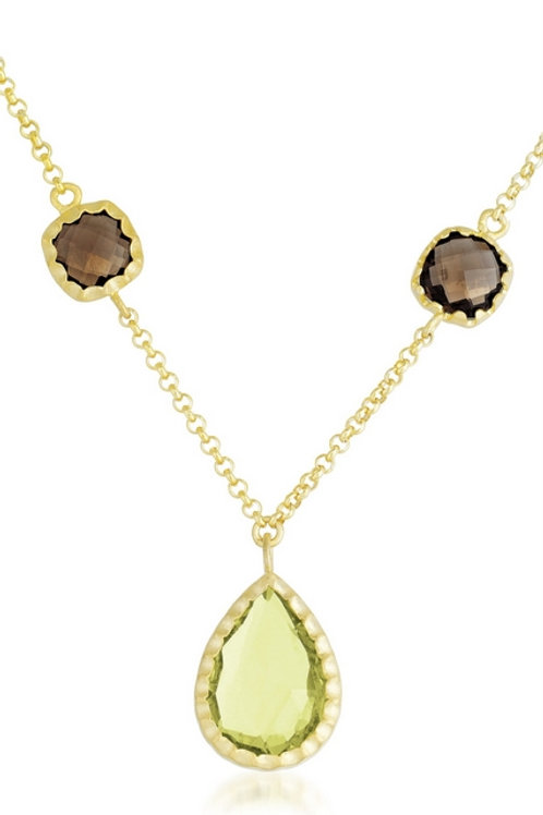 Gold Toned Smokey Topaz and Yellow Stone Necklace CSN-GN1450-SQ