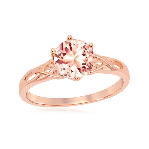 Sterling Silver Rose Gold Plated Six-Prong 7mm Round Morganite Ring CL-W-1938