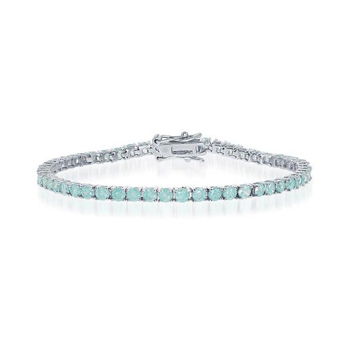 """Sterling Silver 7"""" Round Pronged 3mm Green Ice Tennis Bracelet CSB-T-7360"""