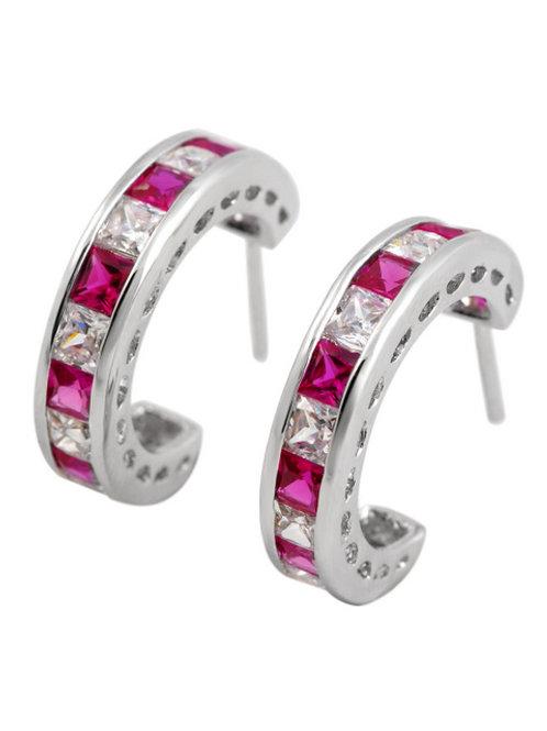 Sterling Silver Ruby/White Princess Cut Earrings TCE-EAR1905-R