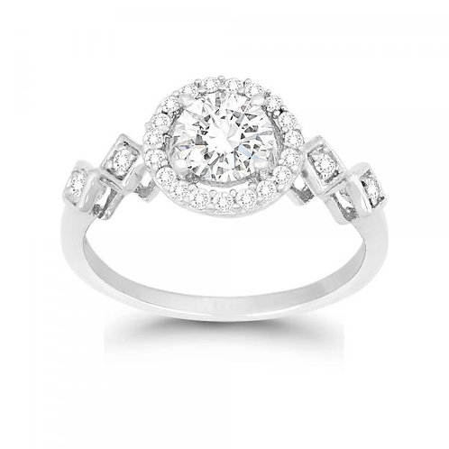 SMALL HALO STYLE CZ ENGAGEMENT RING ITEM: W-9894