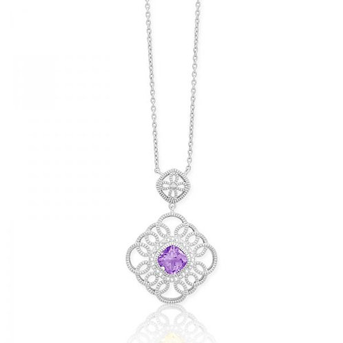 DIA. WITH CENTER AMETHYST DOUBLE SQR PEND. M-4738