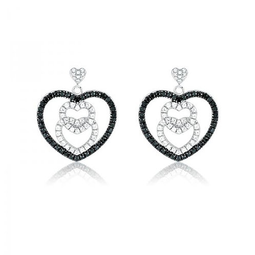 MICRO PAVE EARRINGS Heart Earrings D-4469