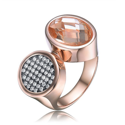 Sterling Silver with Rose Gold Plated Morganite Ring CSR-R8305
