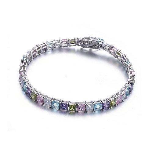 Sterling Siler/Platinum Plated Princess Cut Tennis Bracelet CSB-BR2315-LM