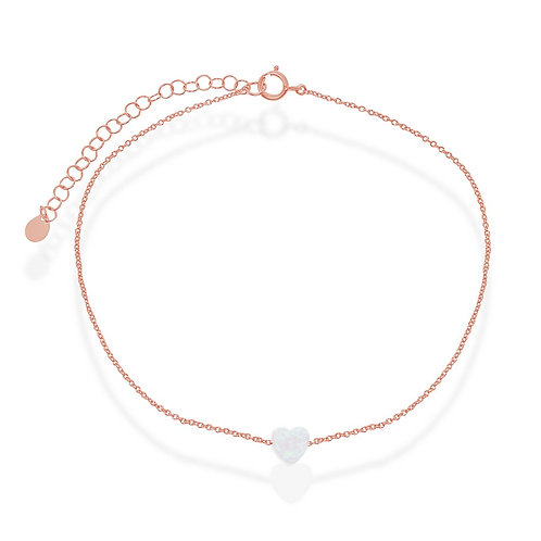 Sterling Silver Rose Gold Plated White Opal Heart Anklet ANK-R-9205