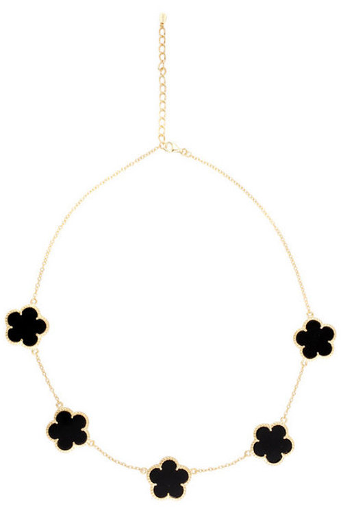 Gold Plated / Sterling Silver Flower Motif Onyx Necklace CSN-NEC1064-B-GP