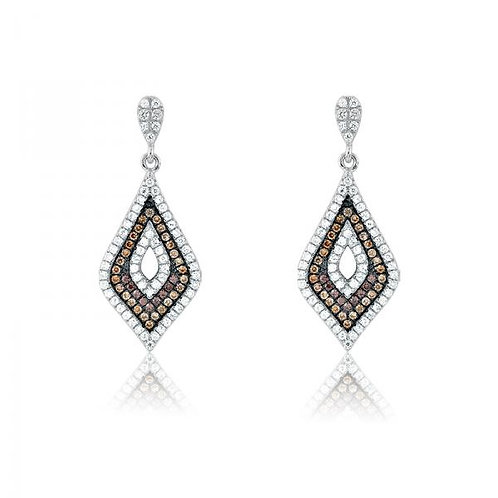 MICRO PAVE EARRINGS Tri Colored Chocolate Stones D-4293