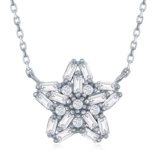Sterling Silver Baguette Stone Star Necklace TCN-M-5707