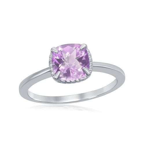 Sterling Silver Four-Prong Square Amethyst Rope Design Border Ring CL-W-1984