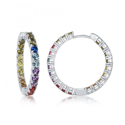 Sterling Silver In-and-Out Rainbow 3x30mm Hoop Earrings CSE-D-7090
