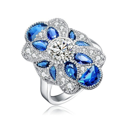 Sterling Silver Pear,Half Moon Sapphire Style RingTCR-R5700-S