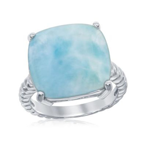 Sterling Silver Four-Prong Square Larimar with Rope Design Band Ring CSR-W-2062
