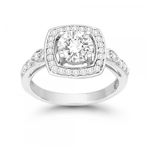 LARGE SQUARE CZ ENGAGEMENT RING W-9892
