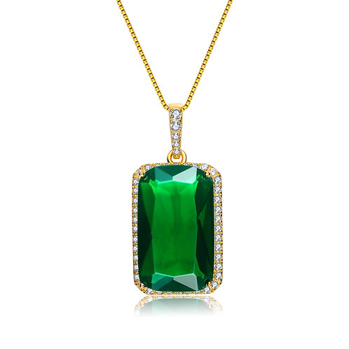 Sterling Silver / Gold Overlay Emerald Green Pendant TCN-PEN6302
