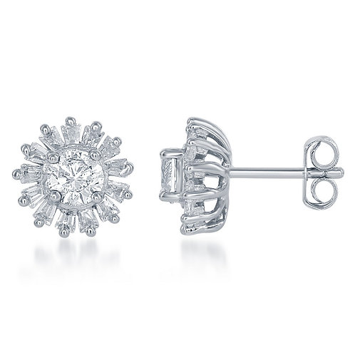 Sterling Silver Small Round with Baguette Border Stud Earrings CL-D-5735