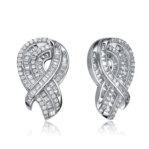 Sterling Silver Platinum Plated  Ribbon Earrings TCSE-EAR4425