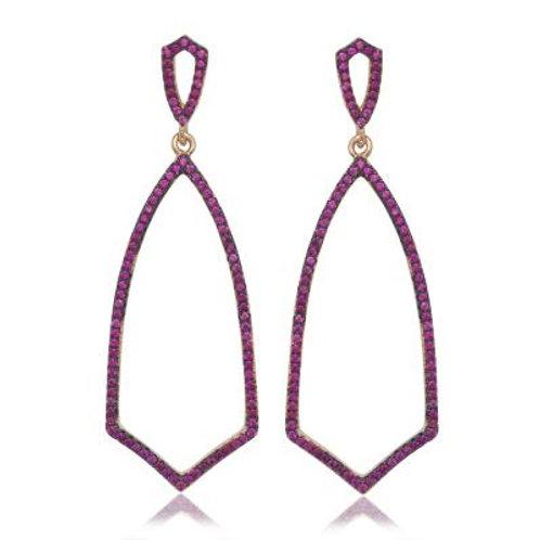 Sterling Silver Rose GP Large Open Pink Stone Earrings TSE-D-5498