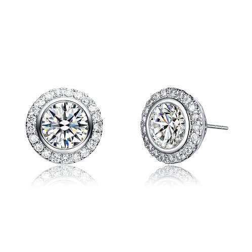 Sterling Silver .75ctw Pave'/Halo Style Stud Earrings TCE-EAR8201