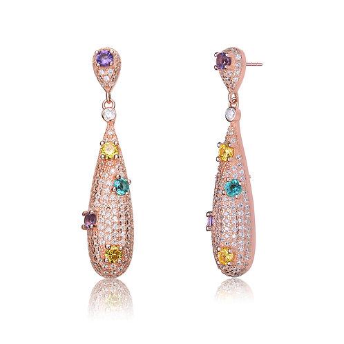 Rose Gold Plated Multicolor Drop Earrings SE-EAR9956-MC