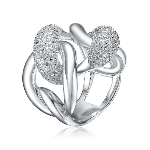 Sterling Silver with Rhodium Plated Pave Link Ring CSR-R9959