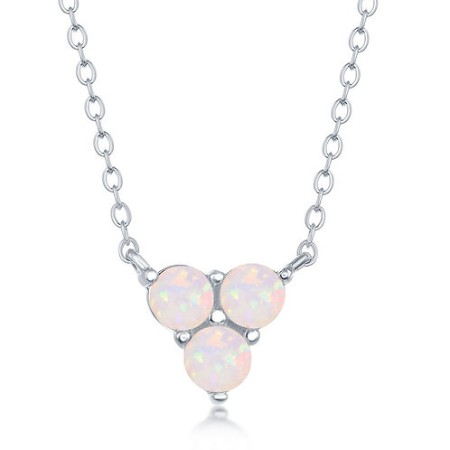 Sterling Silver Triple White Opal Cluster Necklace CL-M-6227