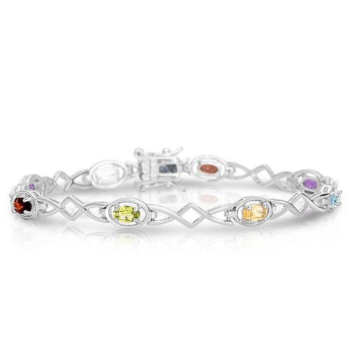 Sterling Silver Multi-Colored Link Bracelet CB-BR6119