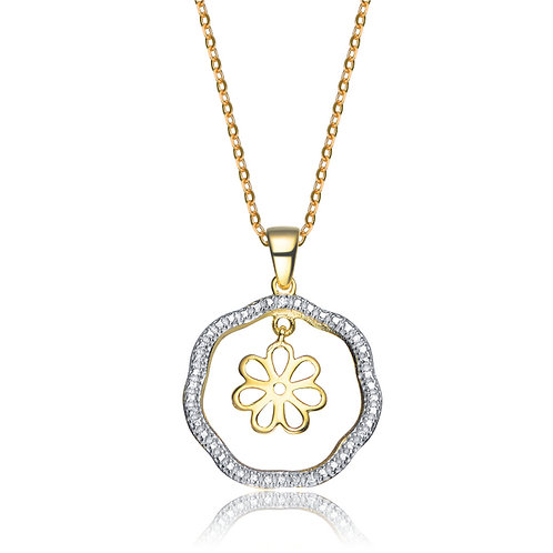 Sterling Silver Two Tone Outlined Flower Pendant CSN-PEN0019