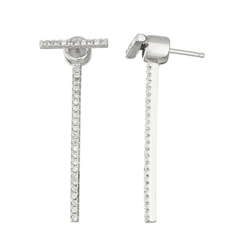 Sterling Silver Front Small Bar and Back Long Bar Earrings CL-D-5955