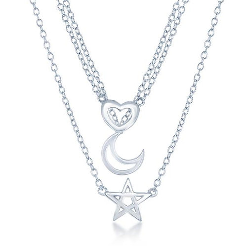"""STERLING SILVER 16"""" GRADUATING TRIPLE STRAND NECKLACE L-3851"""