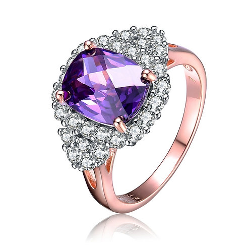 Cluster Rose Toned Amethyst Ring  R1148