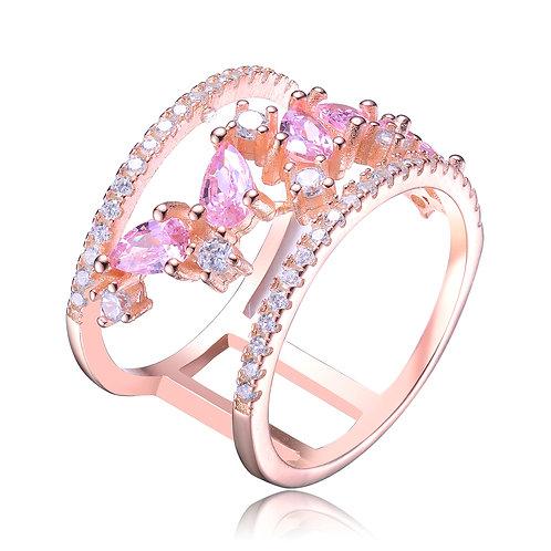 Rose Toned Pink/White Stone Ring CSR-R9975-P-ROSE