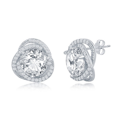 Sterling Silver 12mm Round Flower Design Earrings CL-D-7242