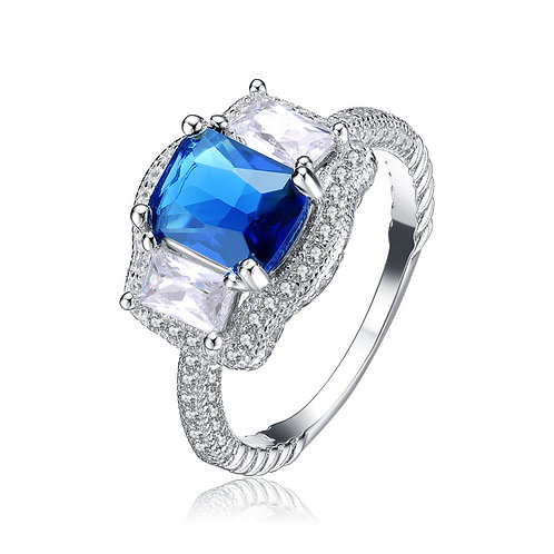 Sterling Silver Ocean Blue Solitaire Ring TR-R1460