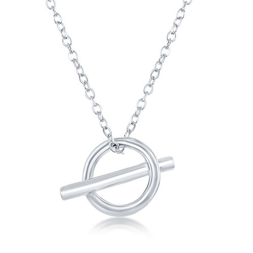 Sterling Silver Open Cricle & Bar Necklace CL-L-4109