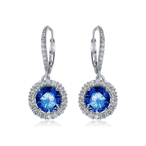 Sapphire stone Halo drop earrings TCE-EAR0006