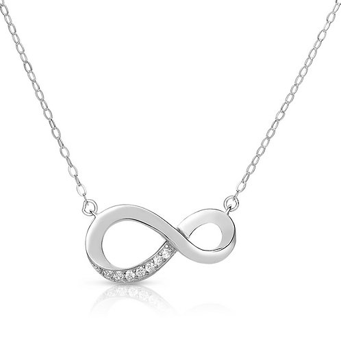 Sterling Silver / Platinum Plated Infinity Necklace TCSN-NEC9019