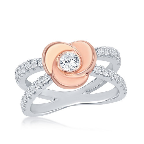 Sterling Silver Rose Gold Plated Flower Micro Pave Ring CSR-W-2034