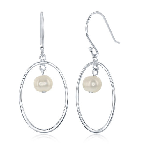 Sterling Silver Open Oval with Freshwater Pearl Earrings CL-D-6979
