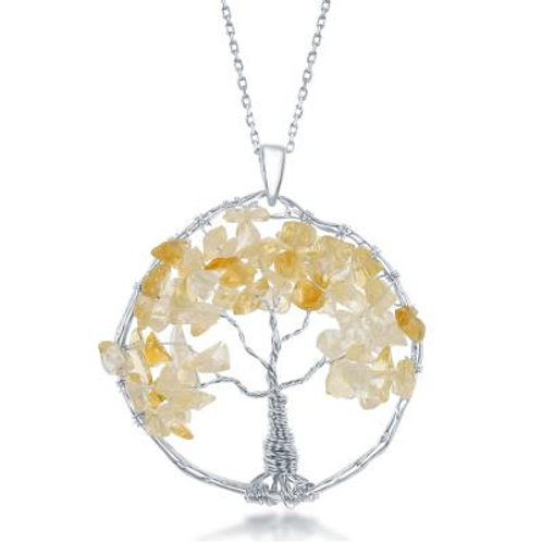 Sterling Silver Citrine Beads Tree of Life Pendant CSN-K-7902