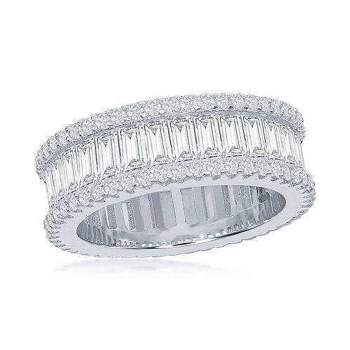 Sterling Silver Baguette and Pave Border Eternity Ring TCR-W-1865