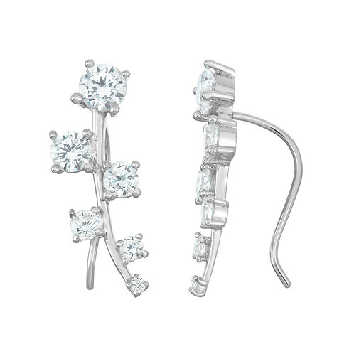 Sterling Silver Graduating Square Climber Earrings CL-D-6002