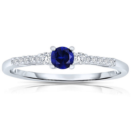 Sterling/Platinum Sapphire Style Pave` Ring TCR-R7051-S